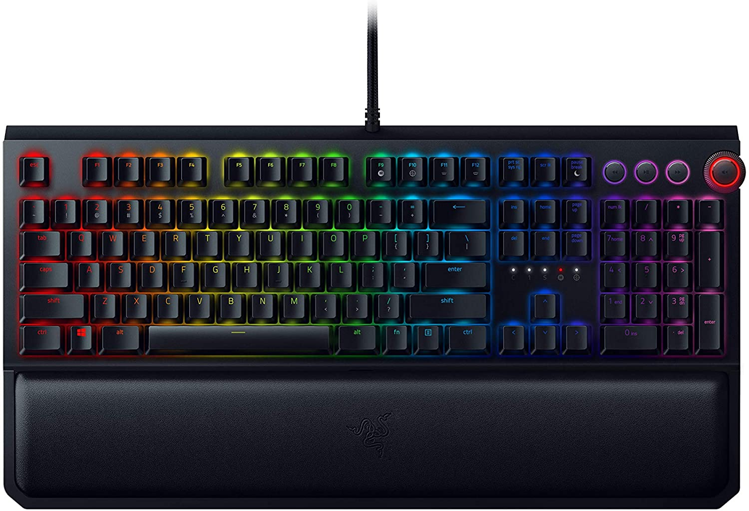 Razer BlackWidow Elite Mechanical Gaming Keyboard: Orange Mechanical Switches - Tactile & Silent - Chroma RGB Lighting - Magnetic Wrist Rest - Dedicated Media Keys & Dial - USB Passthrough