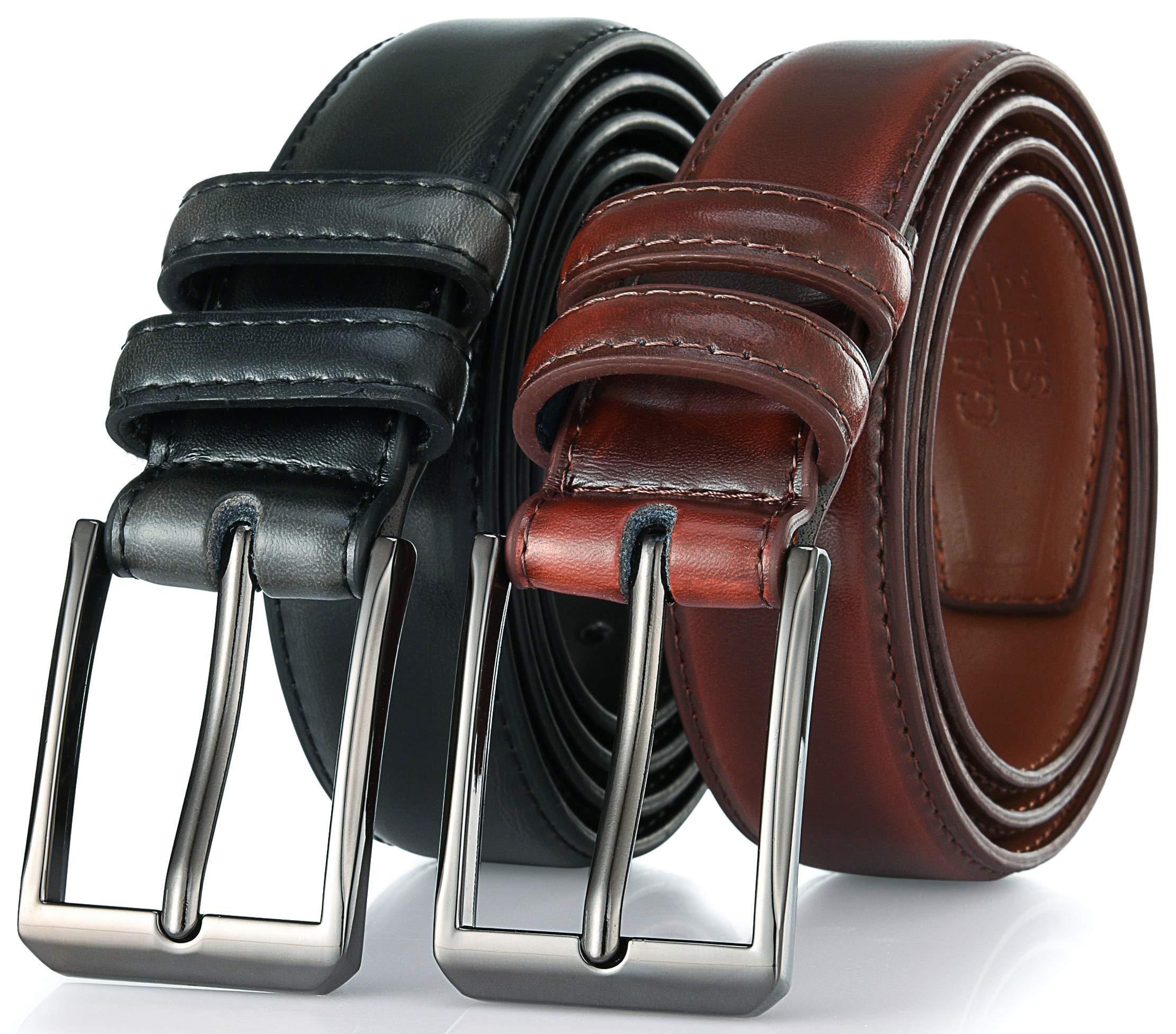 Gallery Seven Mens belt - Genuine Leather Dress Belt - Classic Casual Belt in gift box - 2 Pack - Mahagony & Black - Size 36 (Waist: 34)