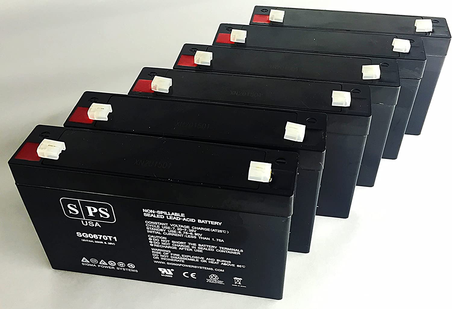 SPS Brand 6V 7Ah Replacement Battery for Volkswagen Beetle Model # W486TG-F 6 Pack