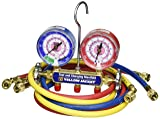 """Yellow Jacket 42024 Series 41 Manifolds with 3-1/8"""" Gauge, 60"""" Plus II Standard Fittings, bar/psi, R-410A"""