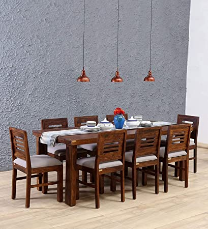 6542c885a8e Js Home Decor Sheesham Wood 8 Seater Dining Table Set with 8 Chairs Teak  Finish  Amazon.in  Home   Kitchen