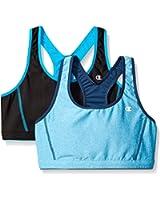 Champion Womens 2-Pack Reversible Double Dry Sports Bras, Aqua/Black, Small