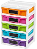 IRIS USA, Inc. 5 Drawer Storage & Organizer Chest, Assorted Colors, 1 Pack, Pastel