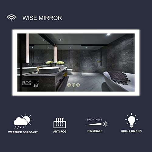 Dimmable Lighted Bathroom Mirror with Weather Forecast Defogger and Memory Touch Switch High Lemens Make Up Vanity Mirror 6500K CRI 90 Calendar Time Date Temperature Humidity Display