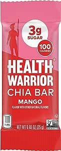 HEALTH WARRIOR Chia Bars, Mango, Gluten Free, Vegan, 25g Bars, 15 Count