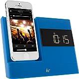 KitSound X-Dock 2 Station d'accueil Radio Reveil avec Connectique Lightning pour iPhone 5, 5C, 5S, iPod Touch 5, iPod Nano 7 - Bleu - Livré avec Prise Française