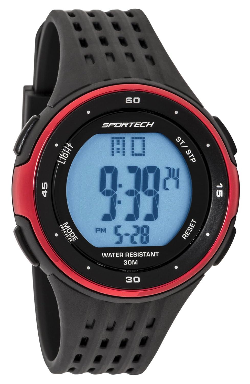 Reloj deportivo deportivo para hombre y niño, color negro y rojo metálico, resistente al agua SP12307