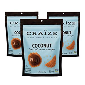 Craize Extra Thin & Crunchy Toasted Corn Crisps - Healthy Vegan All Natural Plant Based Crackers Non GMO Snack - Gluten Free - 3 Pack, 4 Ounces Each (Coconut)