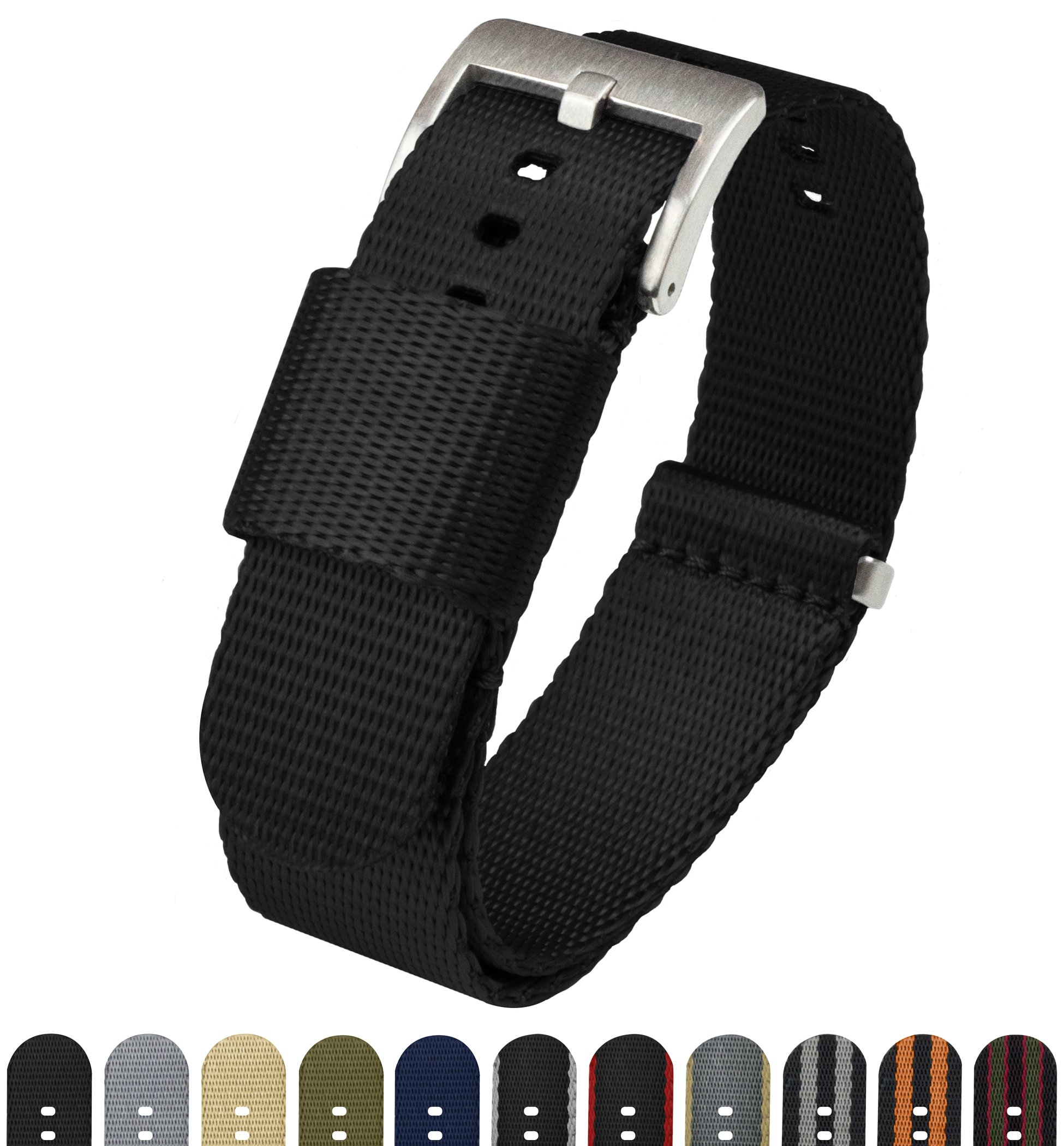 BARTON Jetson NATO Style Watch Strap - 18mm 20mm 22mm or 24mm - Black 20mm Nylon Watch Band