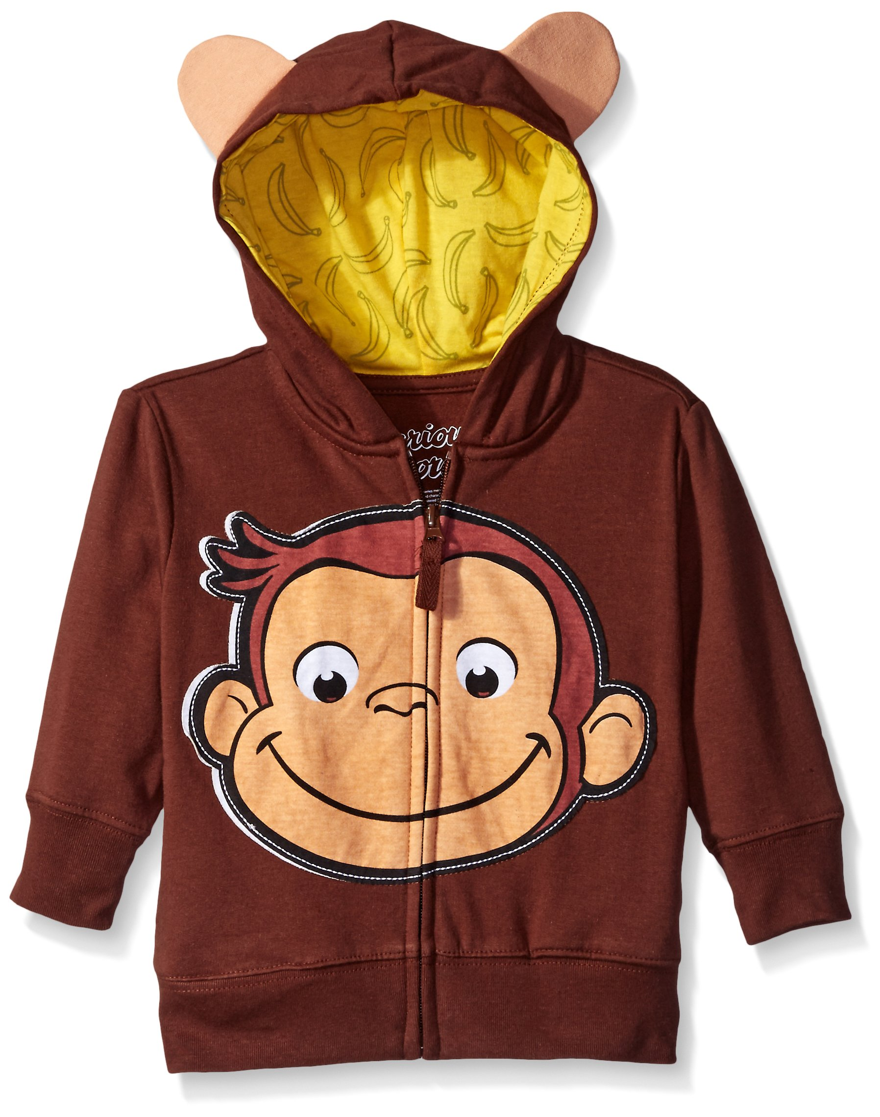 Curious George Little Boys' Toddler Character Hoodie, Brown/Yellow, 3T