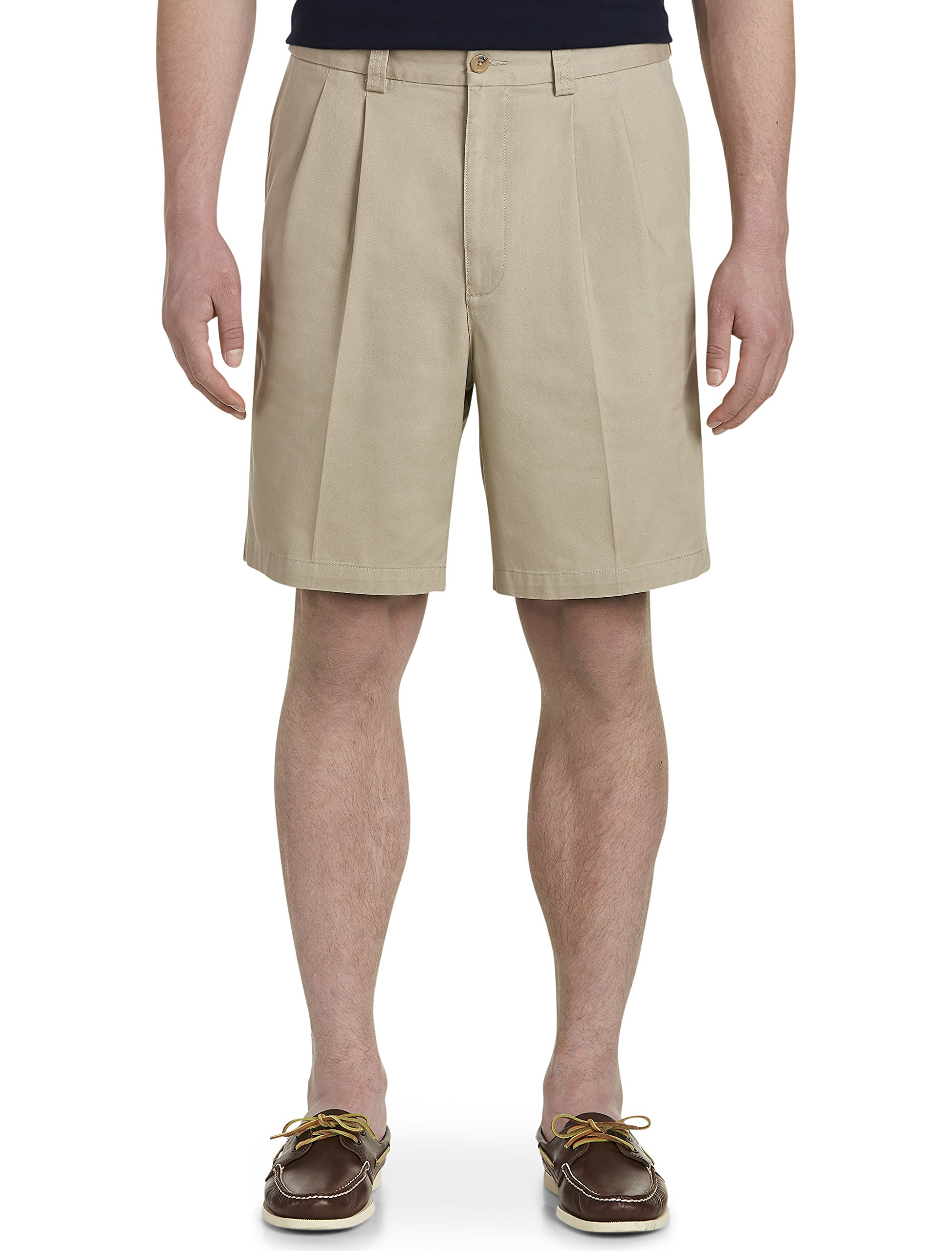 Harbor Bay by DXL Big and Tall Waist-Relaxer Pleated Twill Shorts (48 Reg, Khaki)