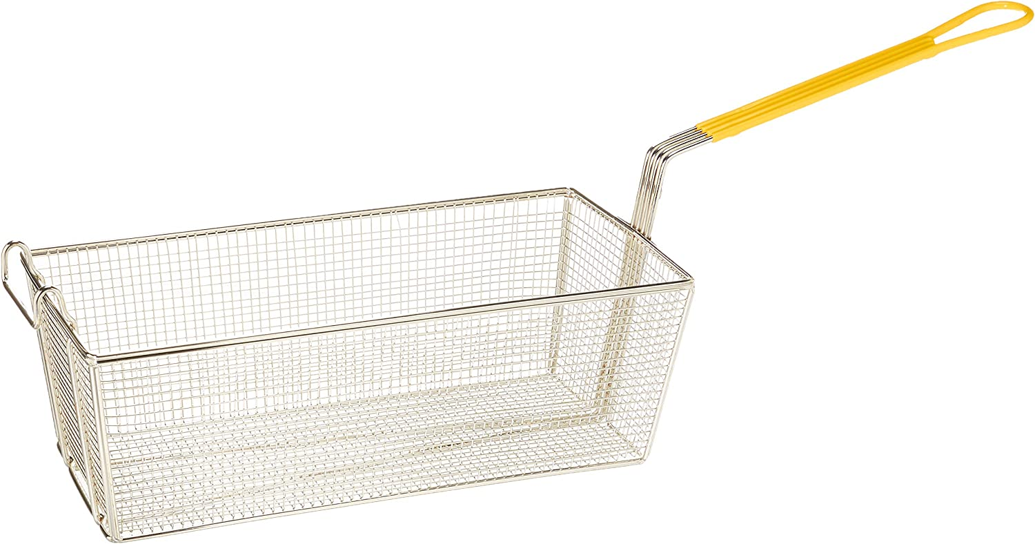 Winco FB-40 Fry Basket with Yellow Handle
