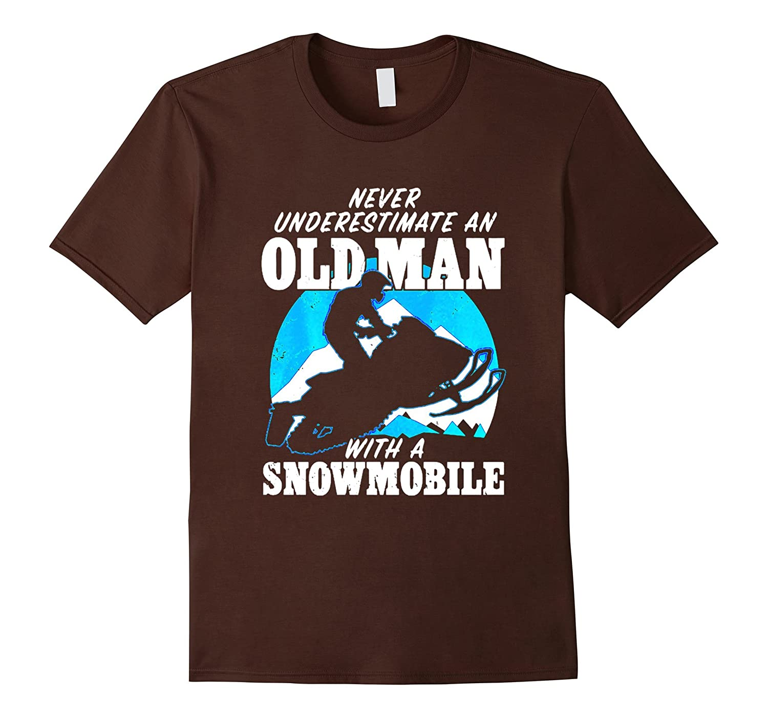 Never Underestimate Shirt Old Man With A Snowmobile Shirts-RT