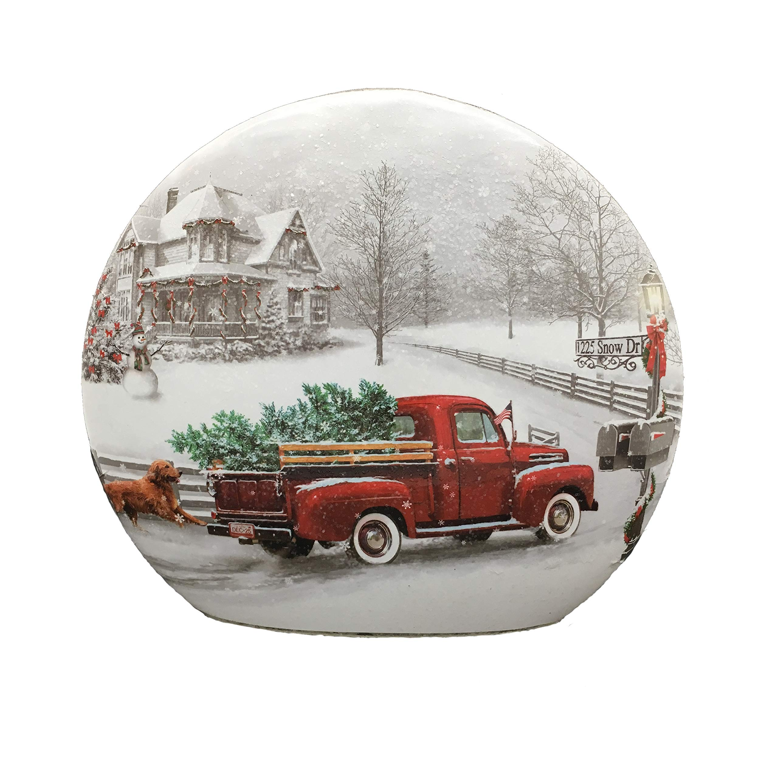 Stony Creek Country Christmas Lighted 7'' Round Glass - Red Truck