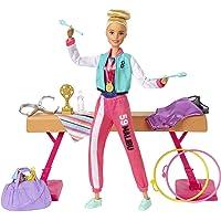 Barbie GJM72 - Barbie turnpop speelset met pop, evenwichtsbalk, 15+ accessoires