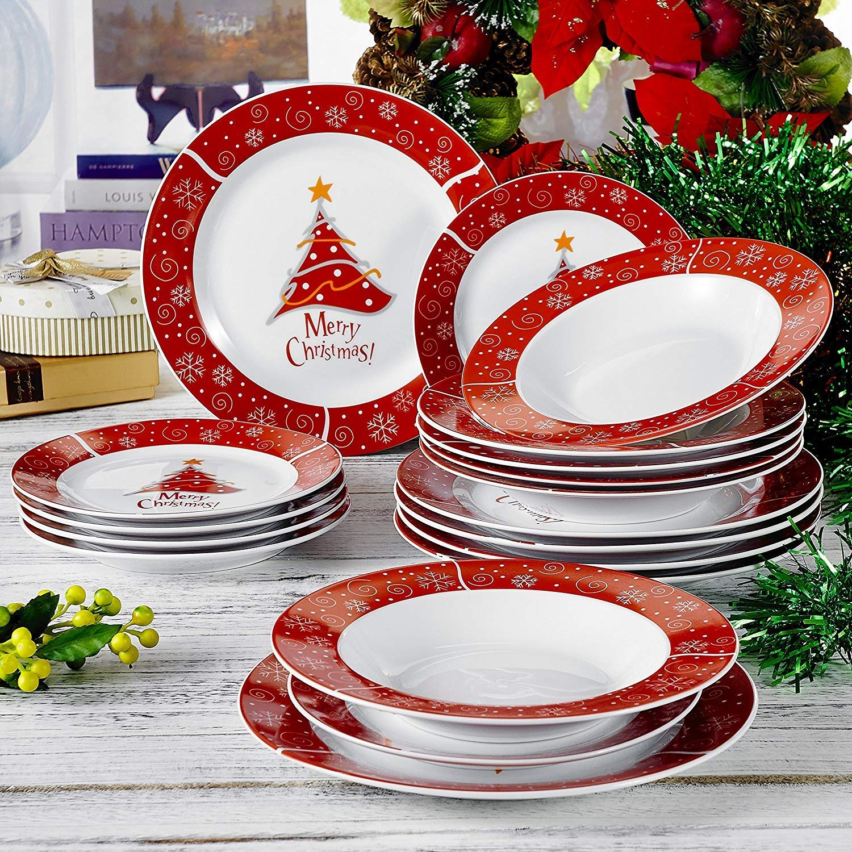 VEWEET, Serie Christmastree, Porzellan 18-teilig Tafelservice Set ...