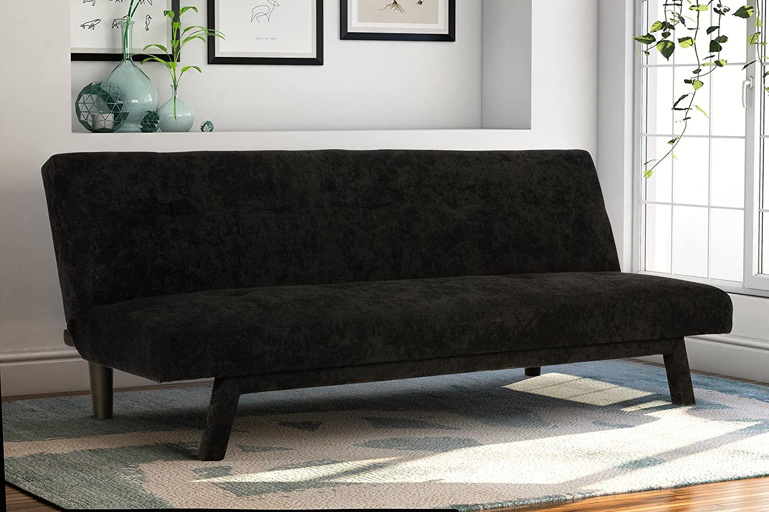 Amazon.com: Premium Austin Convertible Sofa Futon, Rich Black Microfiber  Couch Bed w/ Upholstered Front Legs, Perfect Small Space Solution, ... - Amazon.com: Premium Austin Convertible Sofa Futon, Rich Black