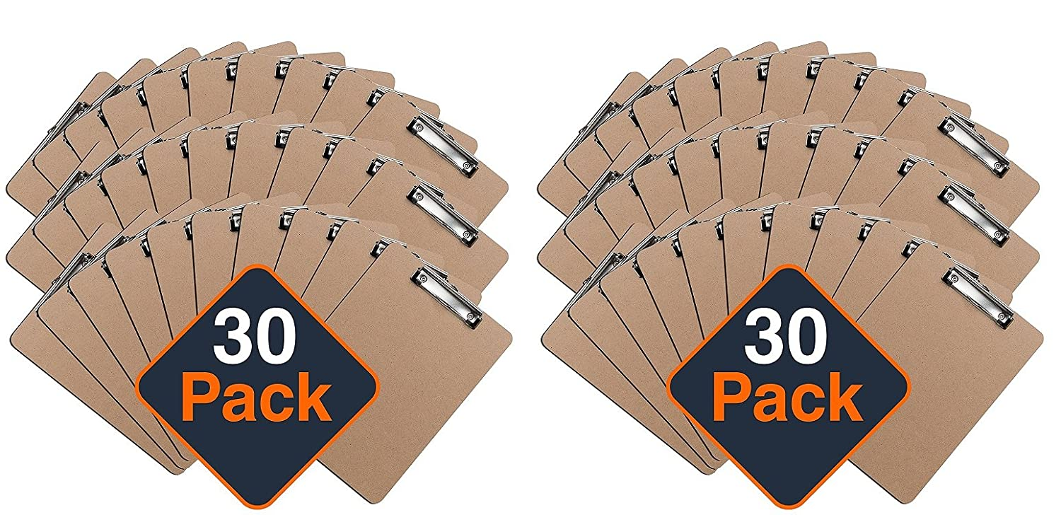 ECO FRIENDLY Hardboard Clipboard Pack by Office Solutions Direct Set of 30 Low Profile Clip Standard A4 Letter Size Classroom Supplies Clipboards