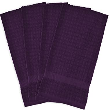 DII Cotton Waffle Terry Dish Towels, 15 x 26  Set of 4, Ultra Absorbent, Heavy Duty, Drying & Cleaning Kitchen Towels-Eggplant