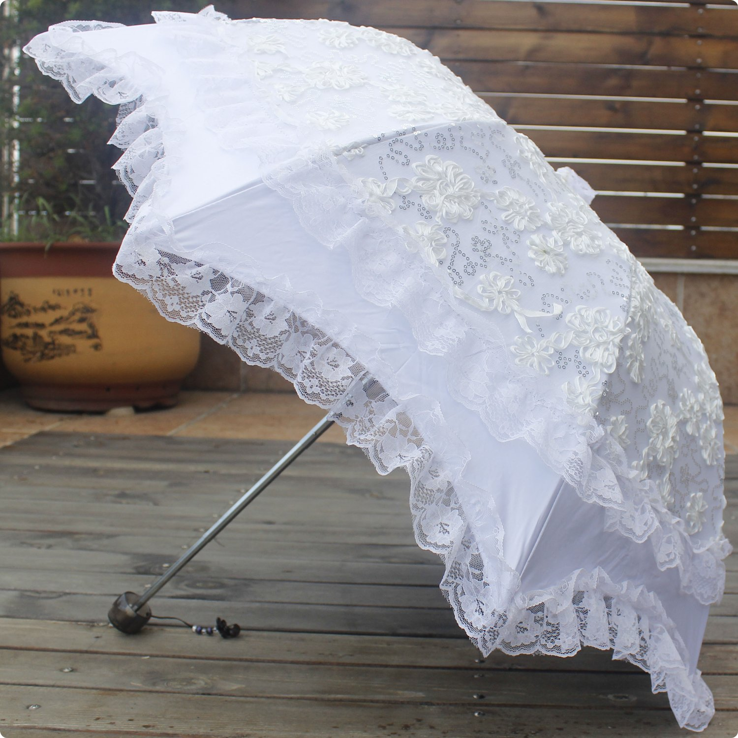Vintage Style Parasols and Umbrellas Honeystore Mushroom Umbrellas Three Folding Vintage Lace Parasol Bride Umbrella $34.69 AT vintagedancer.com