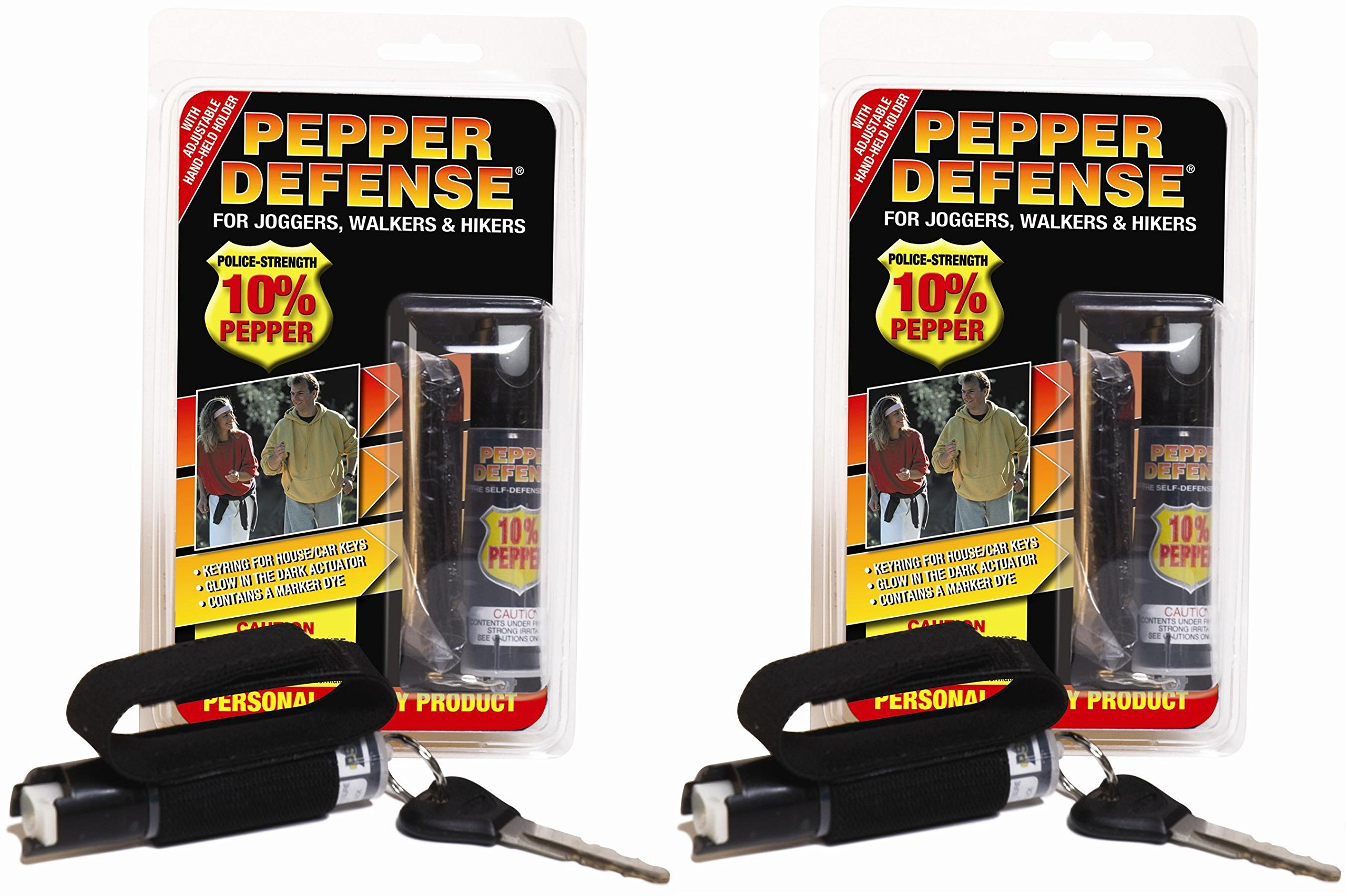 Pepper Defense (2 Pack) 10% OC Pepper Spray w/ Hand Strap for Jogging, Running, Walking, Hiking - Max Strength Police Formula - Emergency Self Defense Non Lethal Weapon for Safety and Protection by Pepper Defense (Image #1)