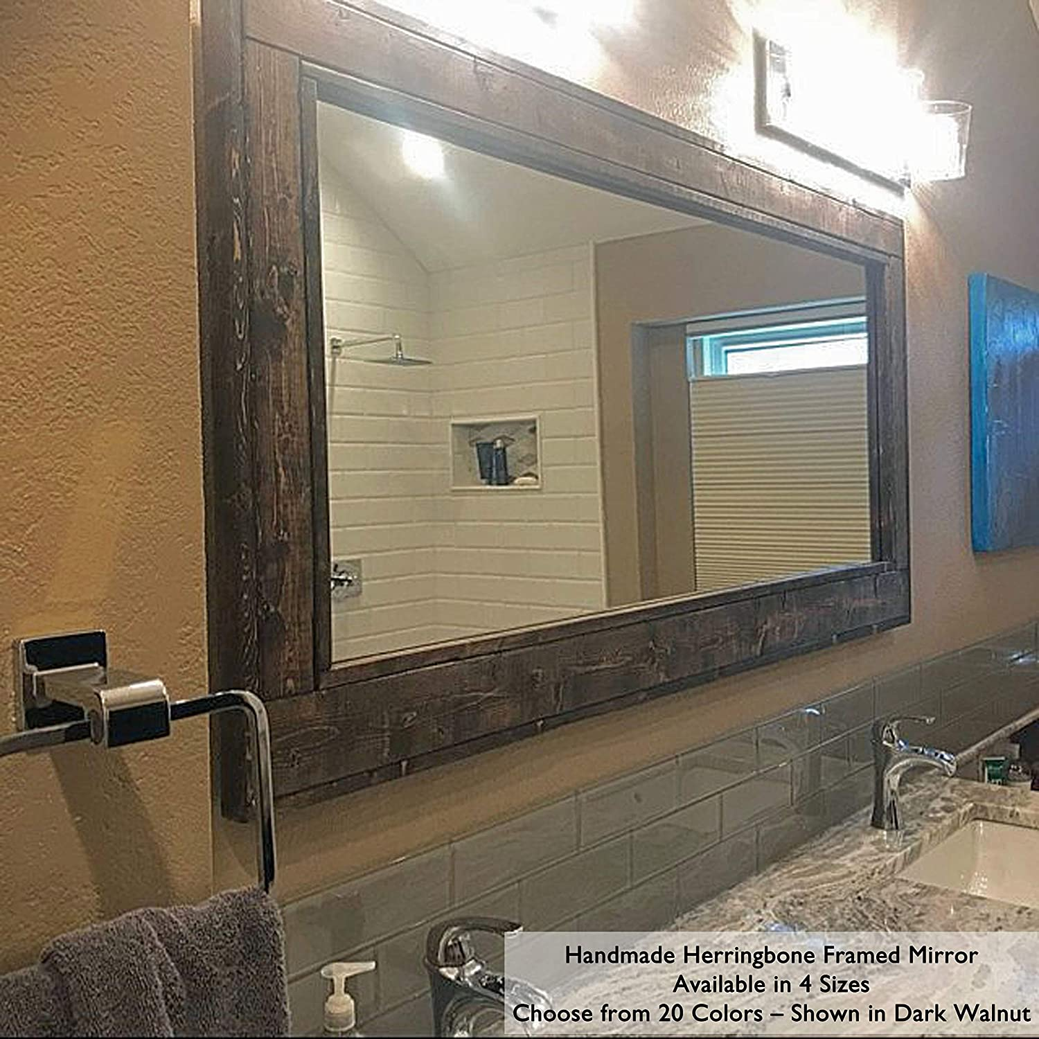 Amazon Com Herringbone Reclaimed Wood Ex Large Framed Mirror Available In 4 Sizes And 20 Stain Colors Shown In Dark Walnut Bathroom Vanity Mirror Mirror Wall Mounted Rustic Decor Handmade