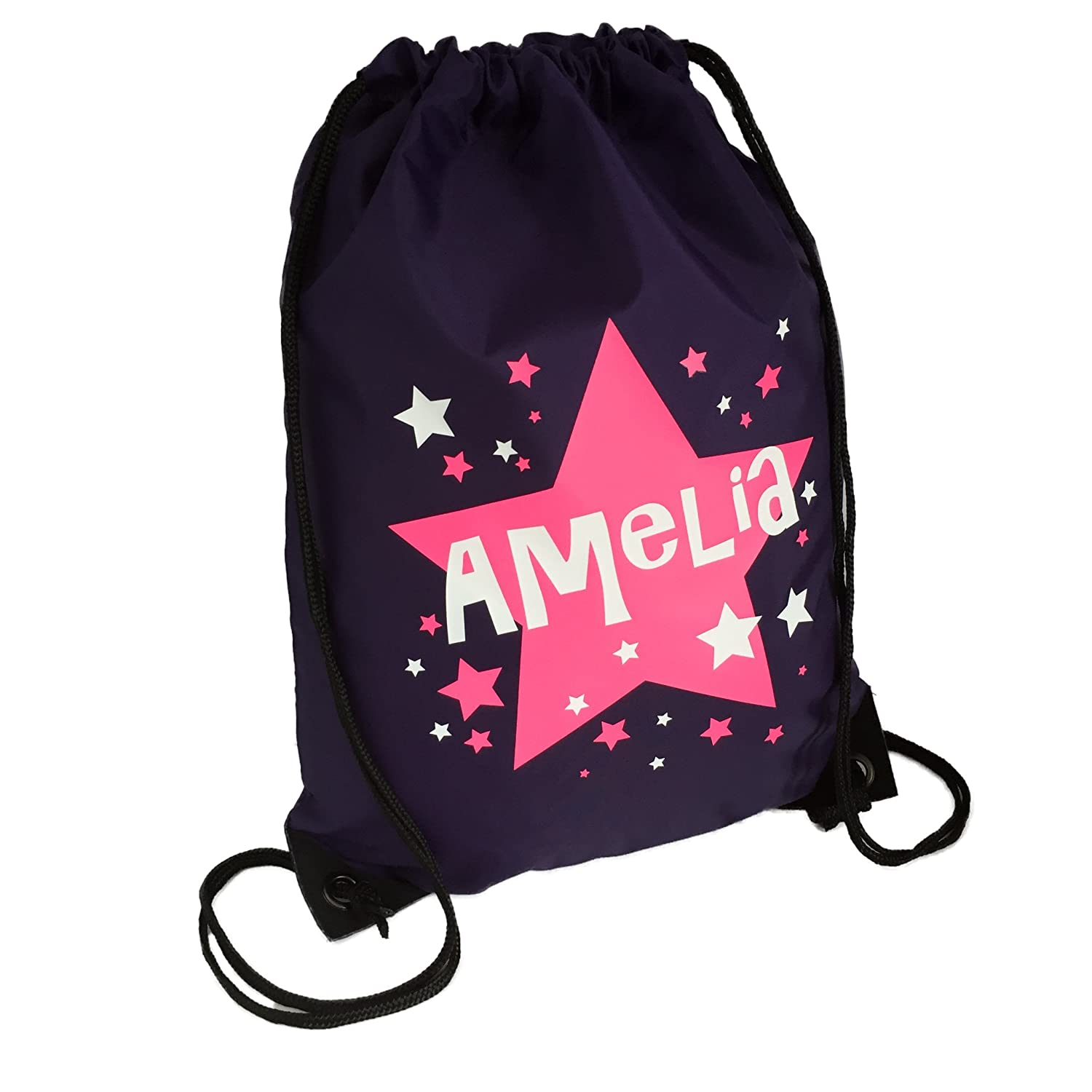Personalised Kids Purple And Pink Stars Theme Drawstring Swimming, School, PE Bag For Girls And Boys PURPLE BAG The Supreme Gift Company SO-BB-GB-DB-0027