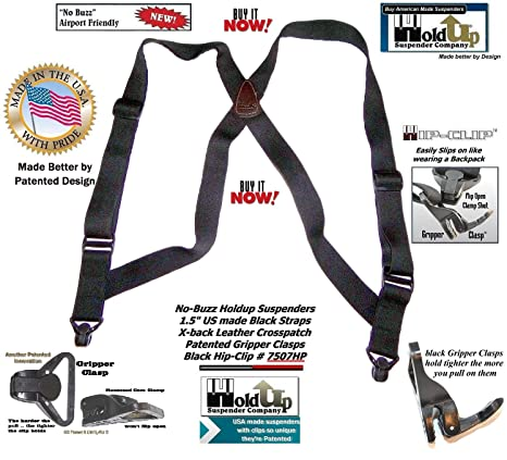 HoldUp Brand Airport Friendly Black Hip-clip Style Suspenders with Plastic Gripper Clasps