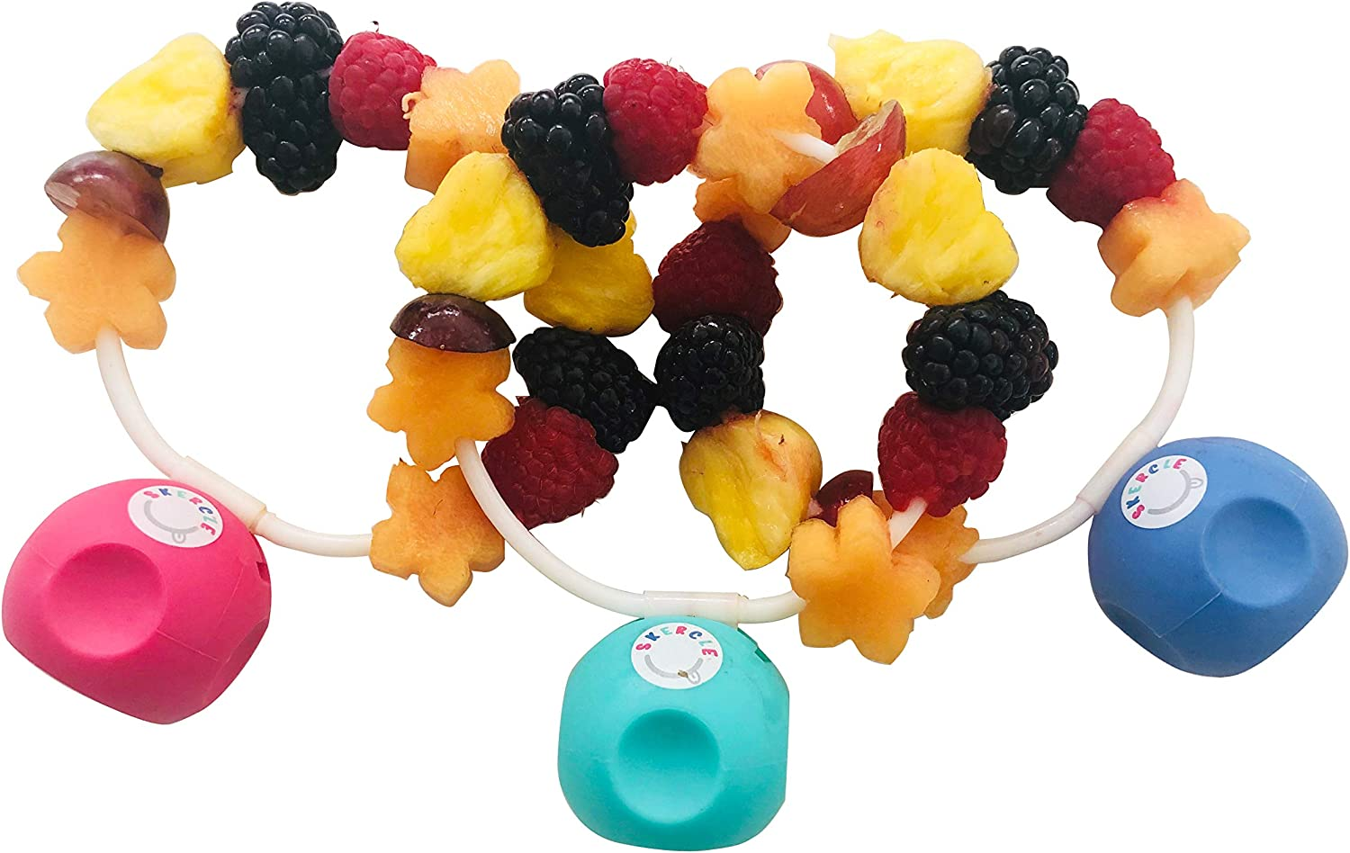 Skercle: the Skewer that a Circle! Safe, enclosed circular skewers. Rounded handle. Great for kids snacks, lunchboxes, finger food and party platters. Set of 3 with soft silicone rounded handle.