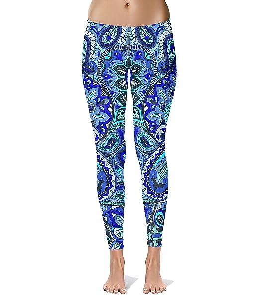Amazon.com: Yoga Pants Blue Mandala,Womens Workout Yoga ...