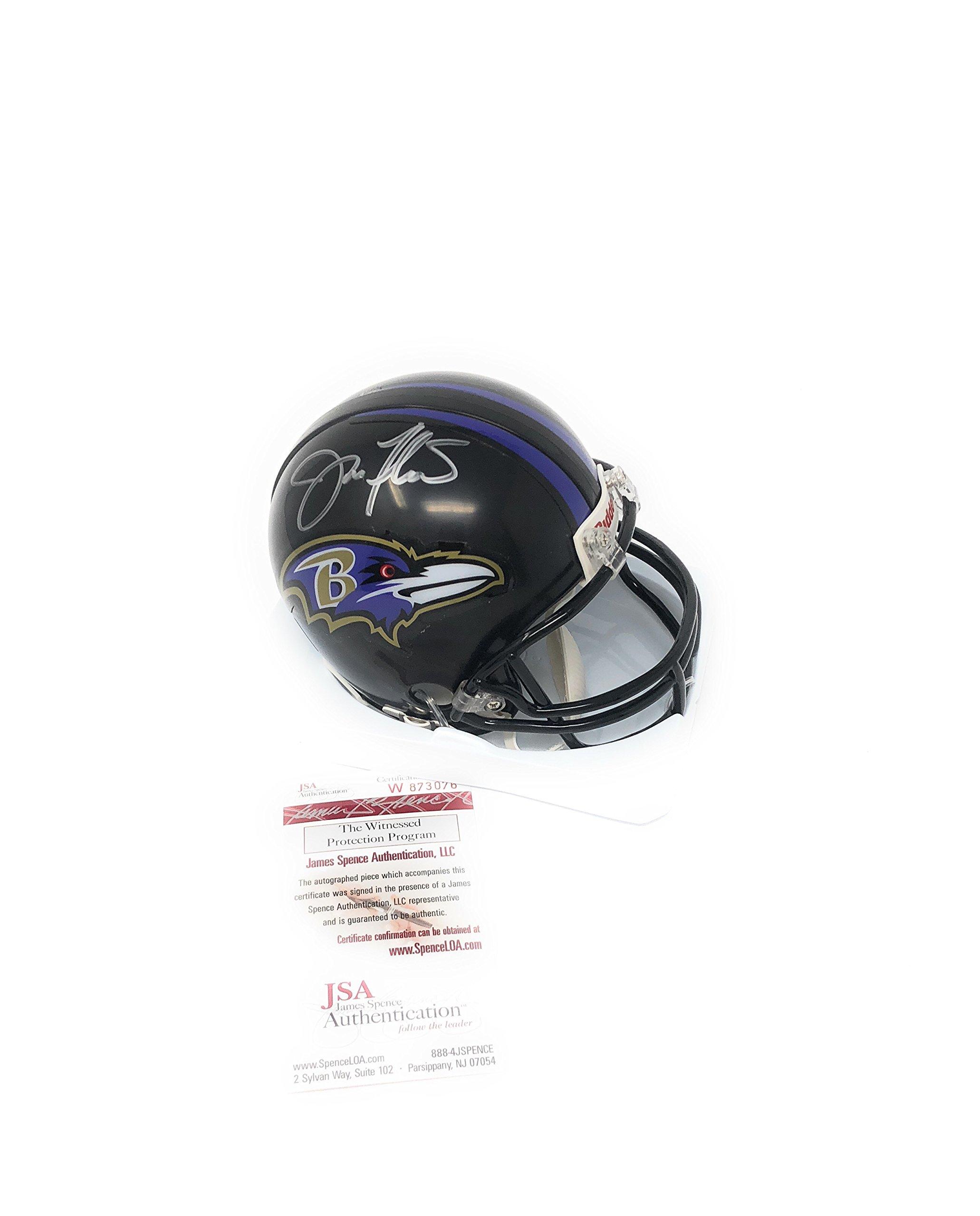 Joe Flacco Baltimore Ravens Signed Autograph Mini Helmet JSA Witnessed Certified