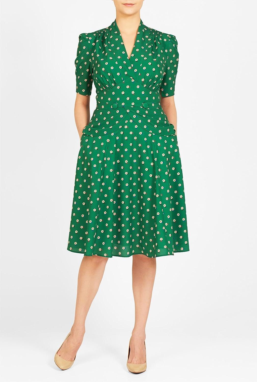 1940s Plus Size Dresses eShakti Womens Peplum waist floral print crepe dress  AT vintagedancer.com