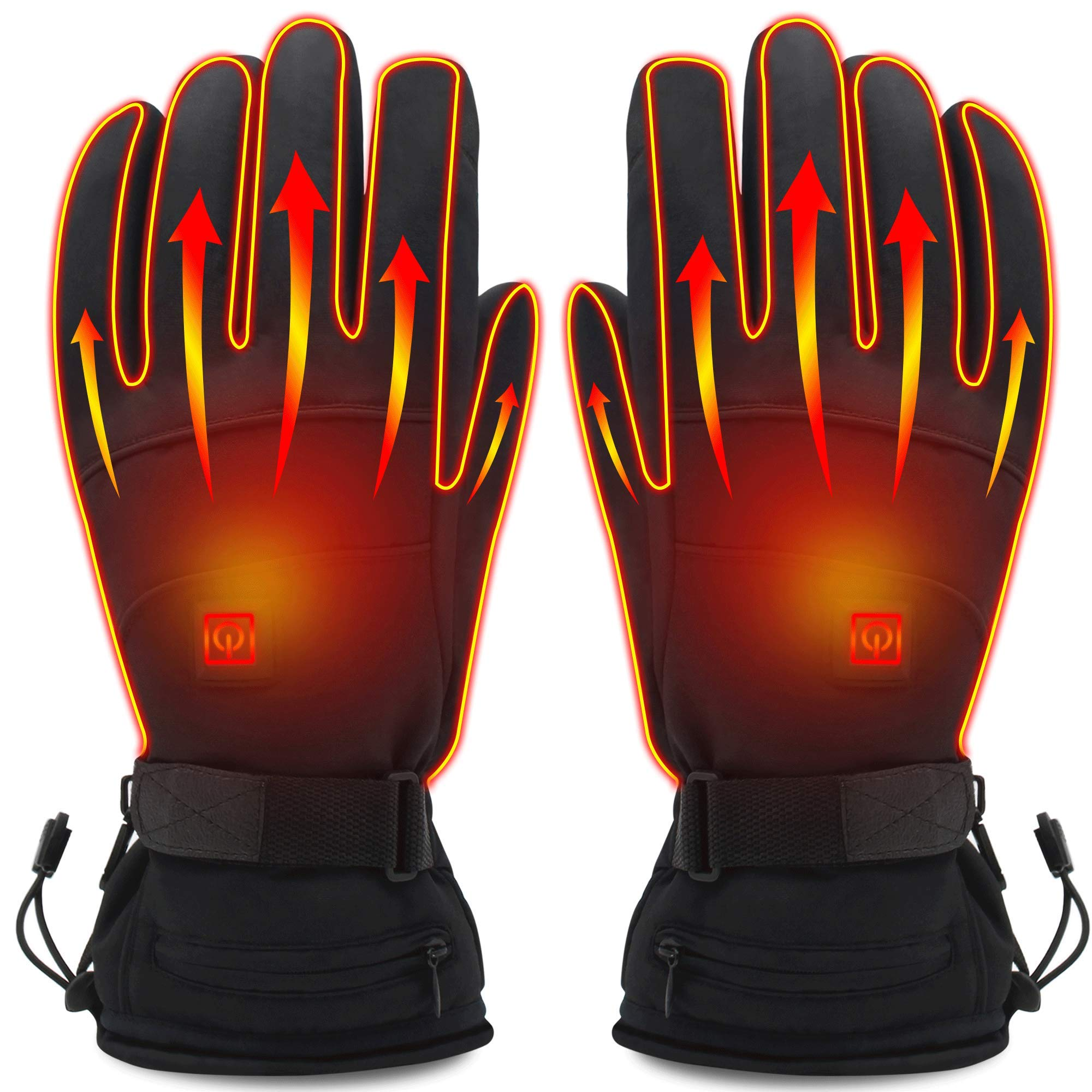 Rabbitroom Unisex Electric Heated Gloves Kit Winter Rechargeable Battery Heating Gloves Waterproof Warm Thermal Gloves for Outdoor Hiking Camping Skiing Arthritis Hand Warmer by Rabbitroom