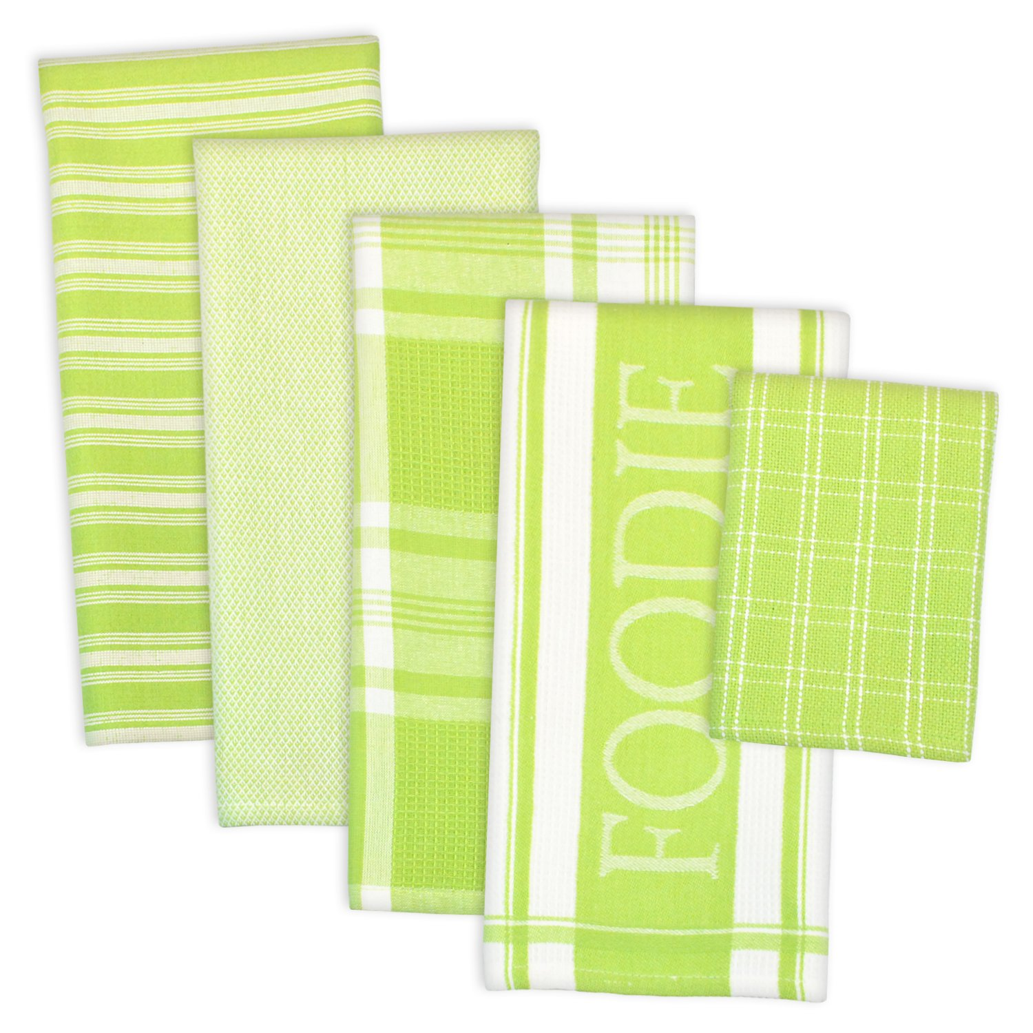 "DII Assorted Decorative Kitchen Dish Towels & Dish Cloth Foodie Set, Ultra Absorbent for Washing and Drying (Towels 18x28"" & Cloths 13x13"") Lime Green, Set of 5"