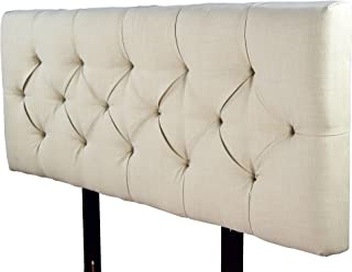 product image for MJL Furniture Designs Jackie Collection Padded and Diamond Tufted Upholstered Solid Wood Full Size Headboard, Sachi Series, Khaki