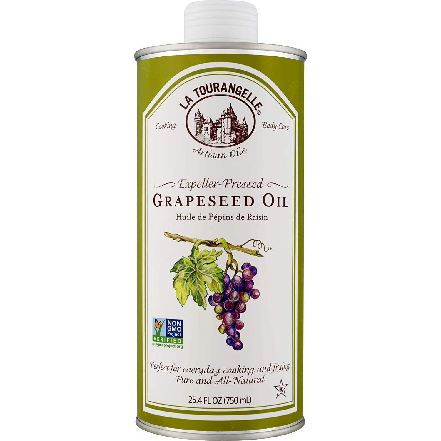 La Tourangelle Grapeseed Oil 25.4 Fl Oz, All-Natural, Artisanal, Great for Cooking, Sauteing, Marinating, and Dressing