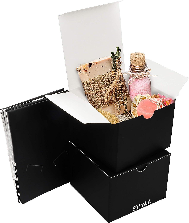 Belle Vous Cajas de Cartón Kraft Negras (Pack de 50) - Medidas 12 x 12 x 9 cm - Caja Kraft de Fácil Ensamblado - Cajas Automontables - Cajitas para Regalos de Fiesta, Cumpleaños, Bodas, Presentes