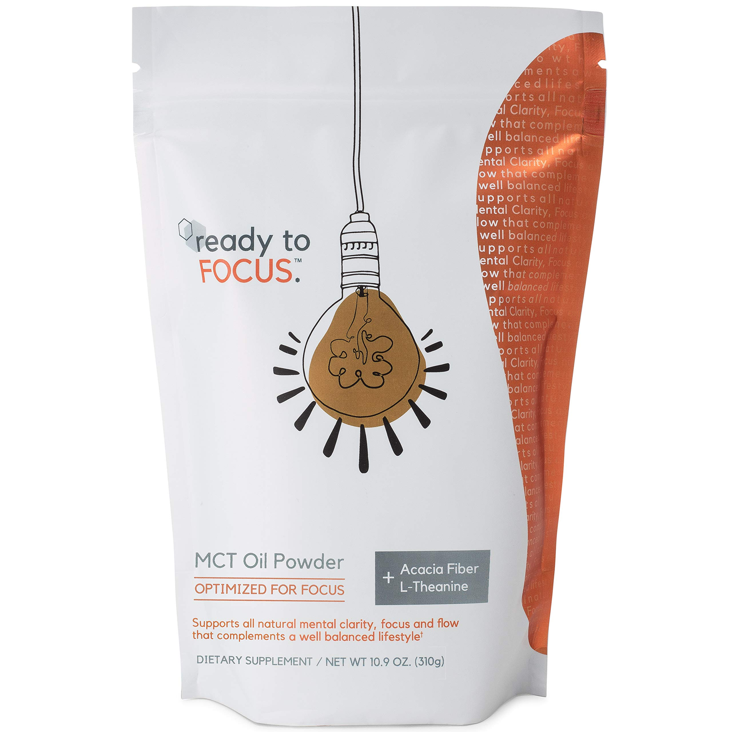 ready to FOCUS - Premium MCT Oil Powder Optimized for Mental Clarity and Focus (with L theanine) and Prebiotic Acacia Fiber - Perfect as a Keto Coffee Creamer or Caffeine Free Brain Boost by ready to FOCUS