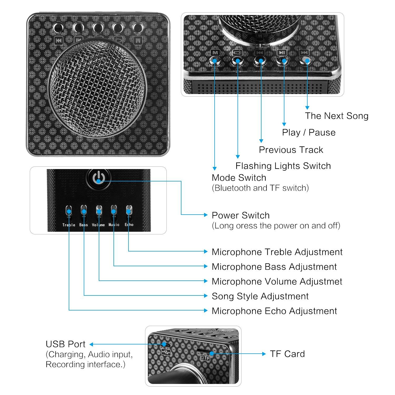 Wireless Karaoke Microphone H8handheld Portable Bluetooth Mic Hifi Speaker Sing A Song Machine Built In Disco Led Lightsbluetooth Speakersmini For Party Singing