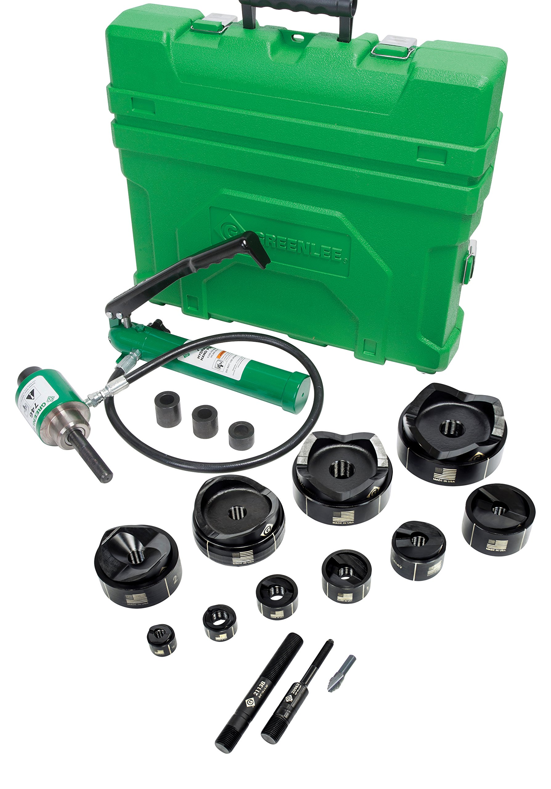 Greenlee 7310SB Ram and Hand Pump Hydraulic Driver Kit with 10 Slug Buster Punches