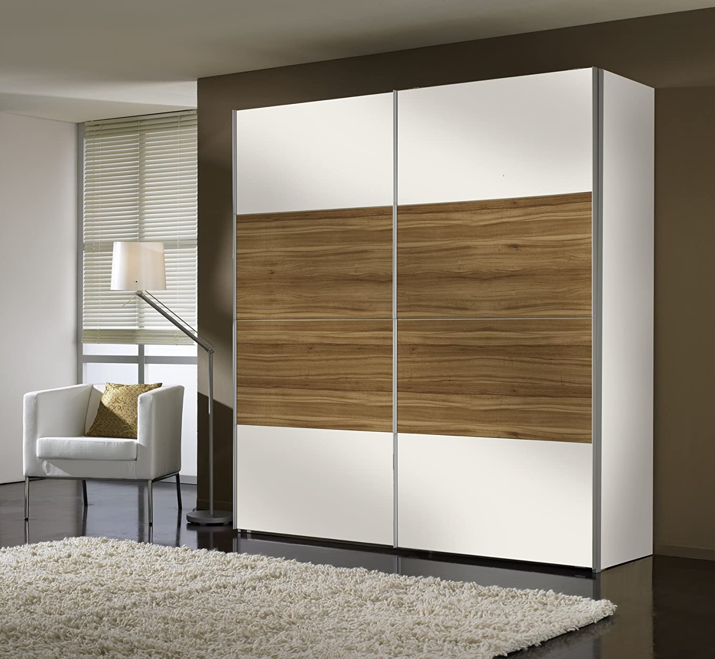 Express Muebles 49200 – 294 – Armario de Puertas correderas 200 x 216 x 68 cm/Color Blanco/Nogal imitación: Amazon.es: Hogar