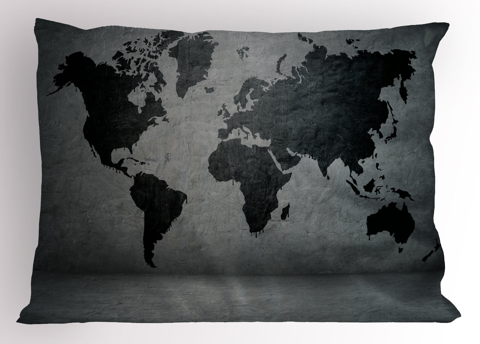 Ambesonne Dark Grey Pillow Sham, Black Colored World Map on Concrete Wall Image Urban Structure Grungy Rough Look, Decorative Standard Queen Size Printed Pillowcase, 30 X 20 inches, Grey Black