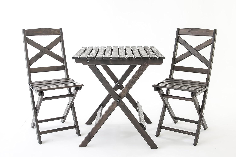 Java Exclusiv Ambientehome Lotta - Juego de mesa y 2 sillas para balcón, plegable, color blanco: Amazon.es: Jardín