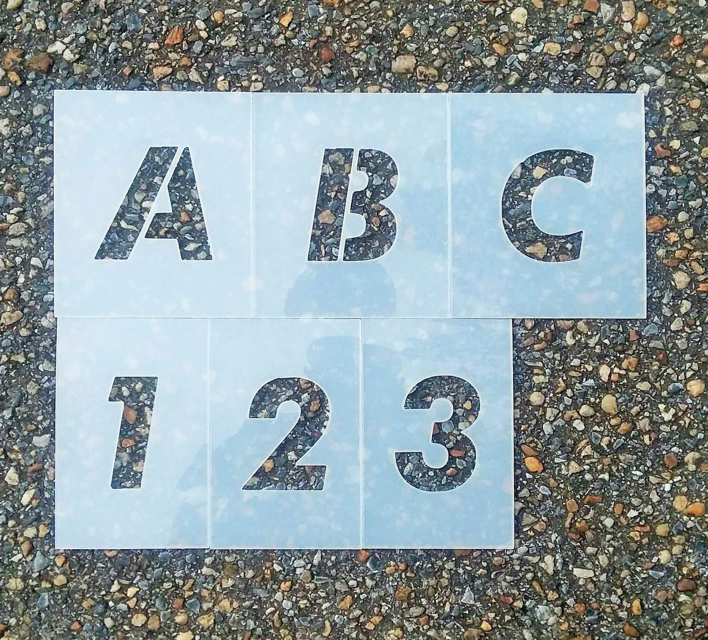 Futura フォント 駐車場 ステンシル 大文字 アルファベットと数字のセット 5 Inch 0001 5 Inch  B07KQVB9H4