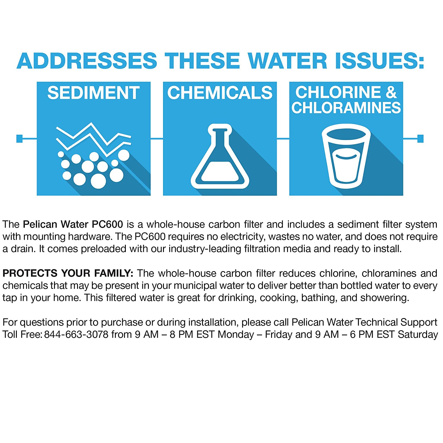Pelican PC600 Whole House Water Filter System for 1-3 Bathrooms ...