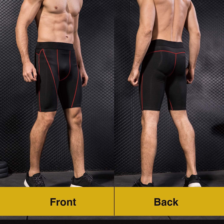Fitness Gym Niksa 3 Piezas Mallas Cortas Running Hombre Pantalones Cortos de Compresi/ón para Deporte