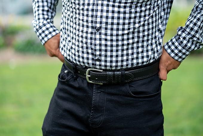 Amazon.com: Cinturón negro de piel auténtica con costuras ...