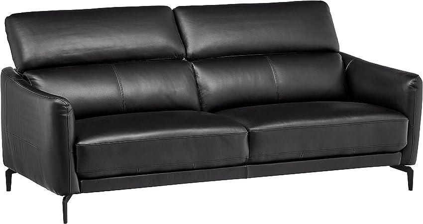 Rivet Kaden Mid-Century Modern Adjustable Headrest Leather Loveseat Sofa,  77.5\