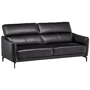 "Rivet Kaden Mid-Century Modern Adjustable Headrest Leather Loveseat Sofa, 77.5""W, Black Leather"