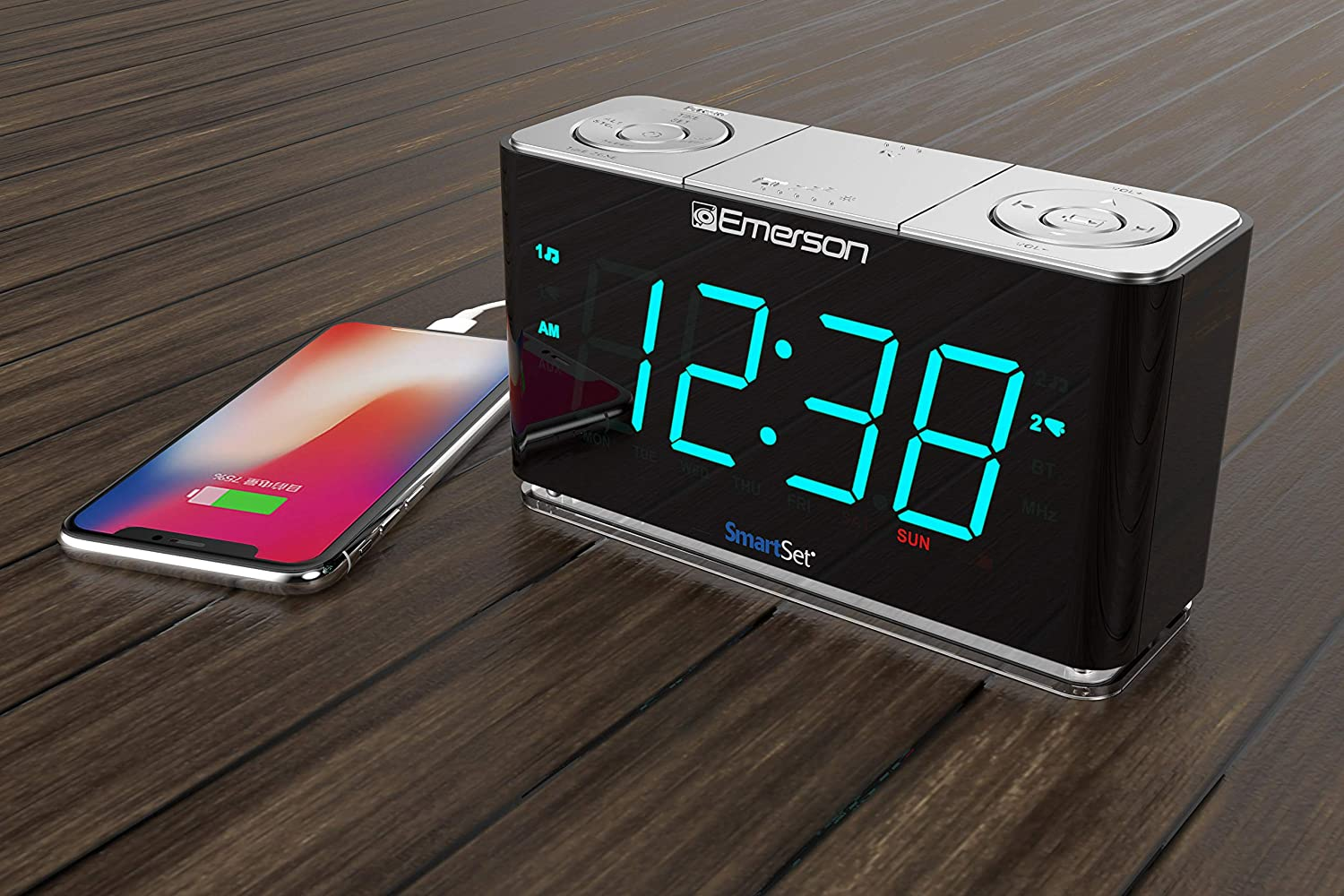 smart alarm clock with fm radio and blutooth speaker